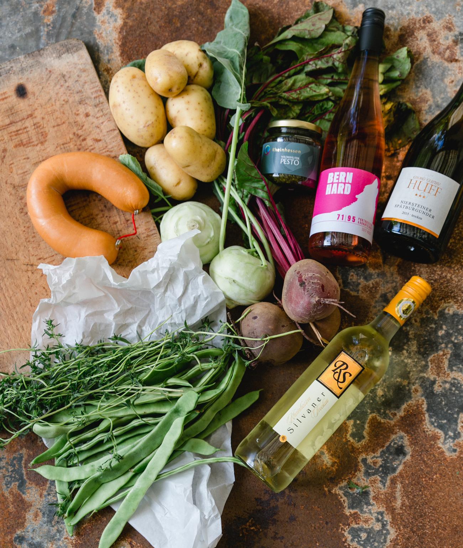 Rheinhessen Tapas, Kartoffeln, rote Bete, Kohlrabi, Bohnen, Wein