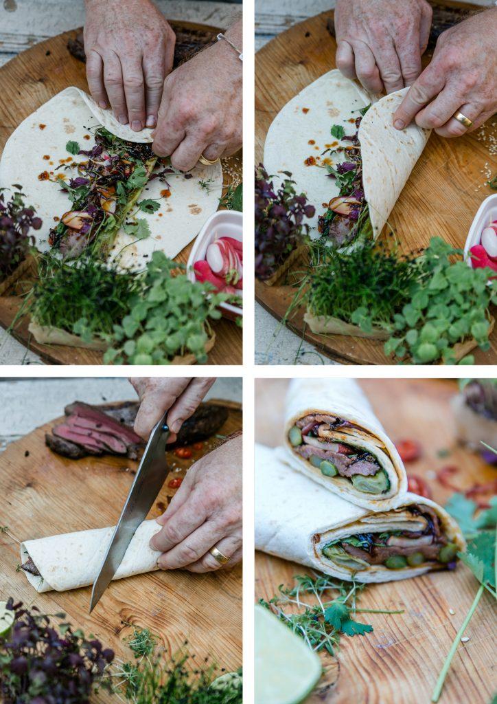 Wrap mit Hirschfilet, gruenem Spargel, Fruehlingszwiebeln, Radieschen und Sesam